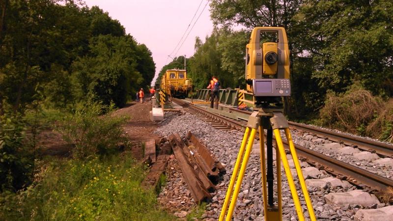 Měření pro podbíječku - rekonstrukce železniční tratě