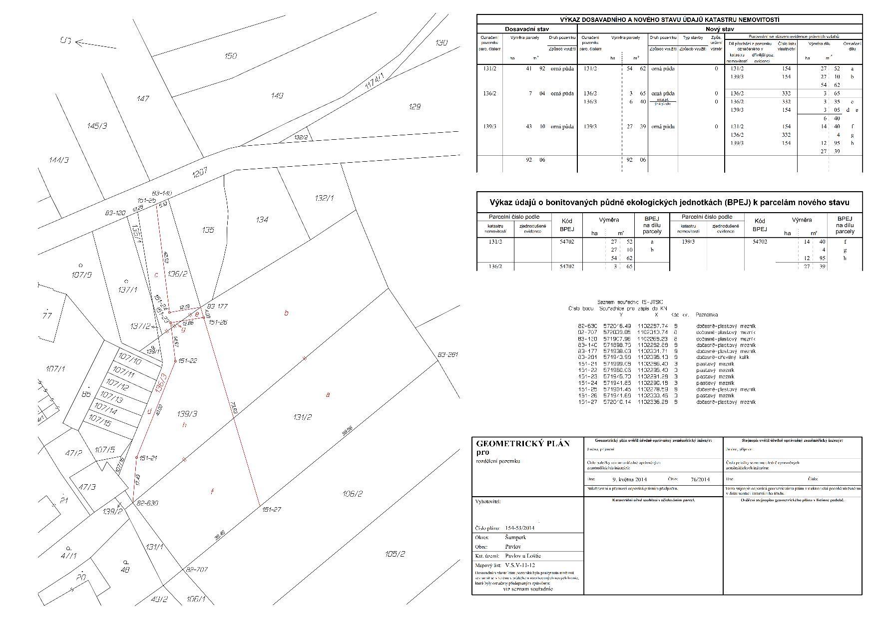 Geometrický plán pro rozdělení pozemku